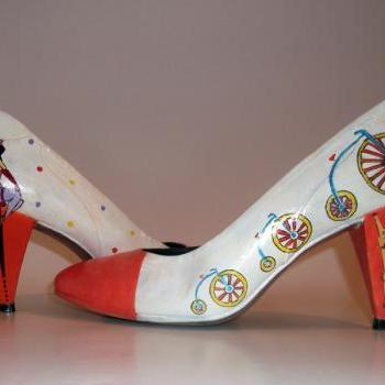 "Custom made - Hand painted Shoes ""Retro Style"""